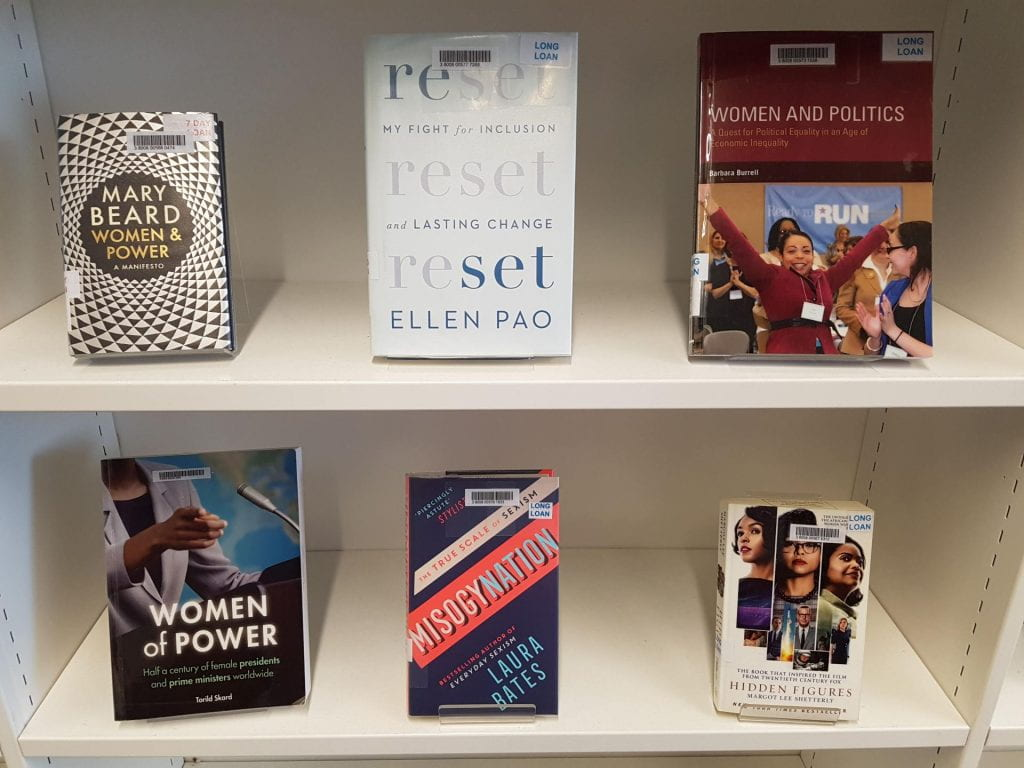 An image of books related to women's studies
