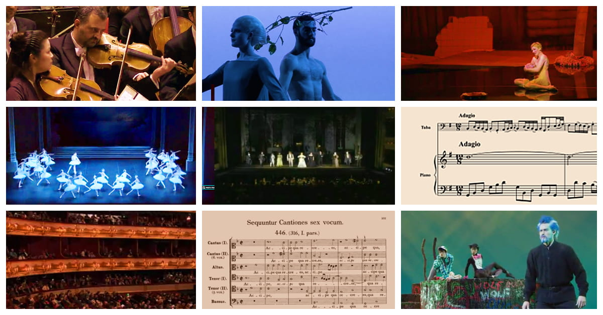 A selection of scores and stills from performances from Musi Online.