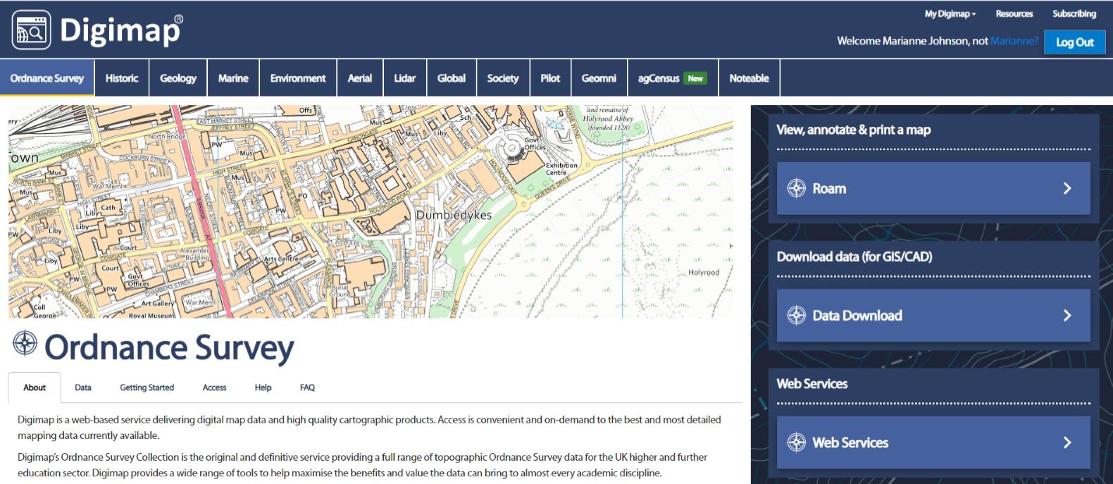 Screenshot of an ordnance survey map on Digimap.