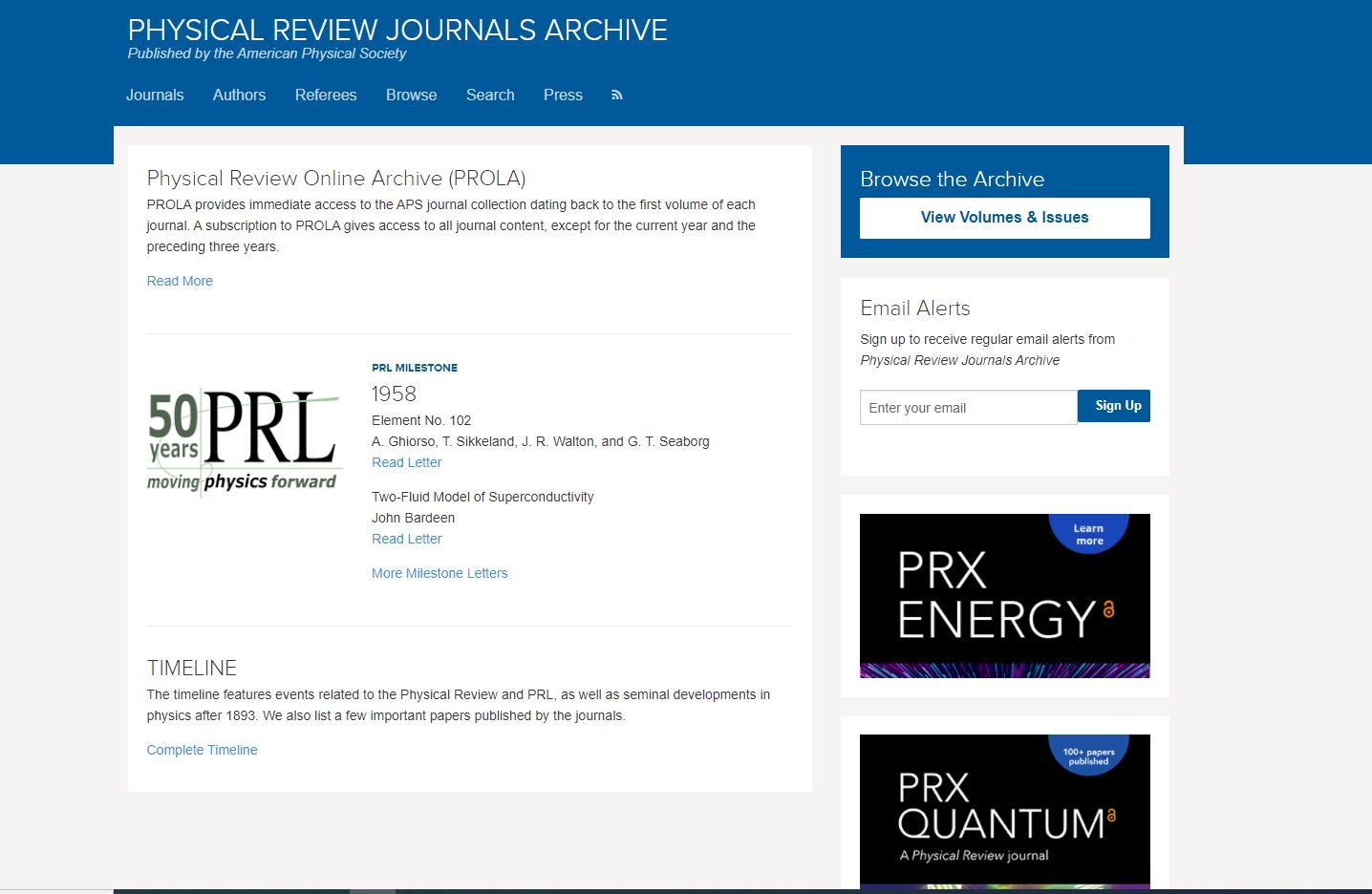 The Physical Review Online Archive (PROLA) homepage.