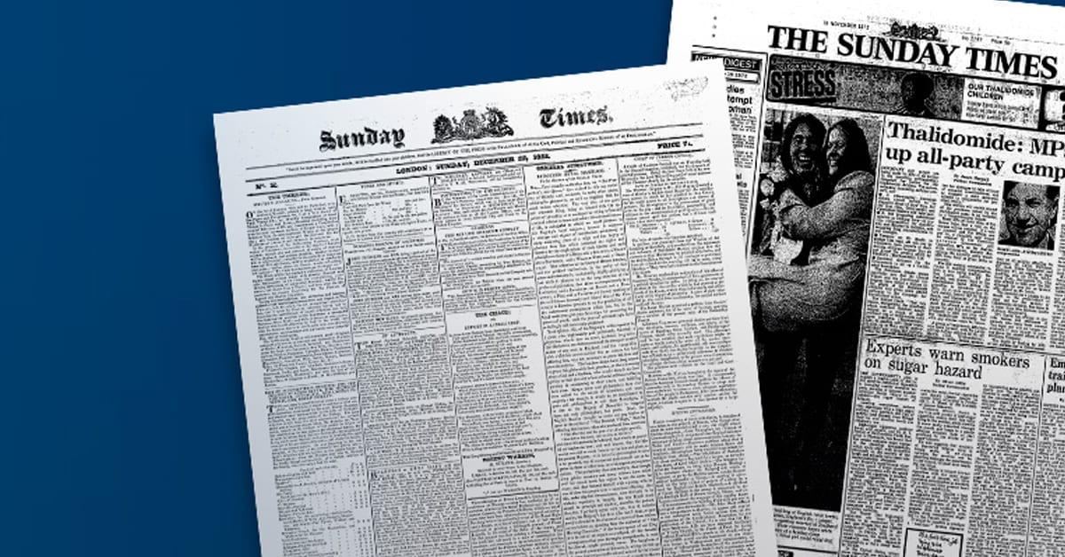 Two front pages from the Sunday Times Digital Archive.