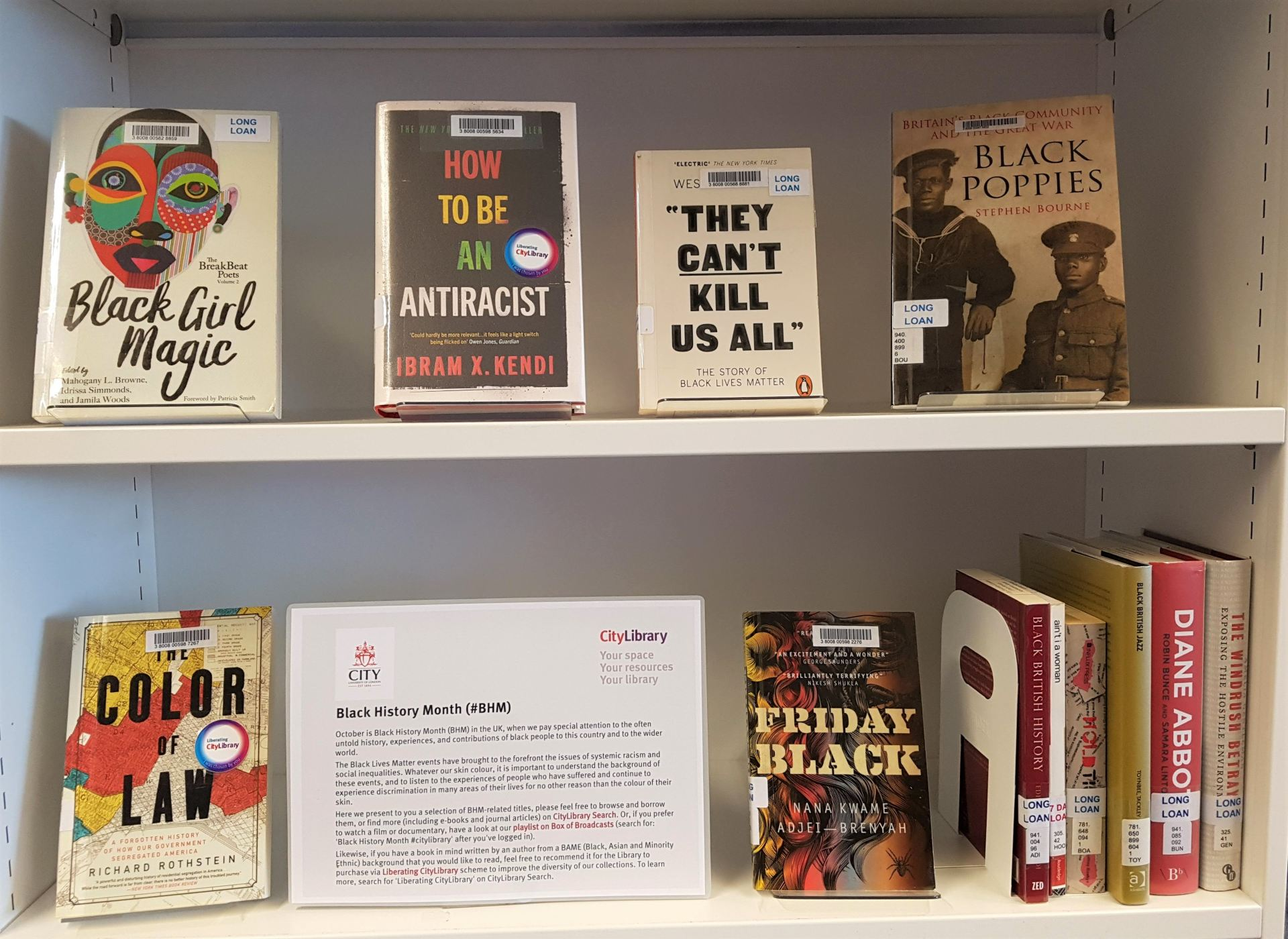 Black History Month book display at Northampton Square Library