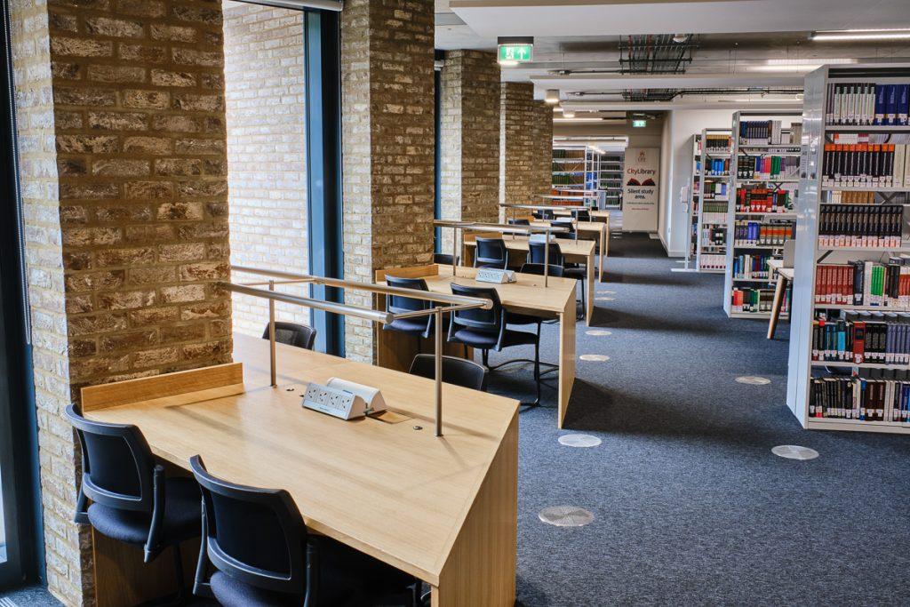 Study desks and shelves.