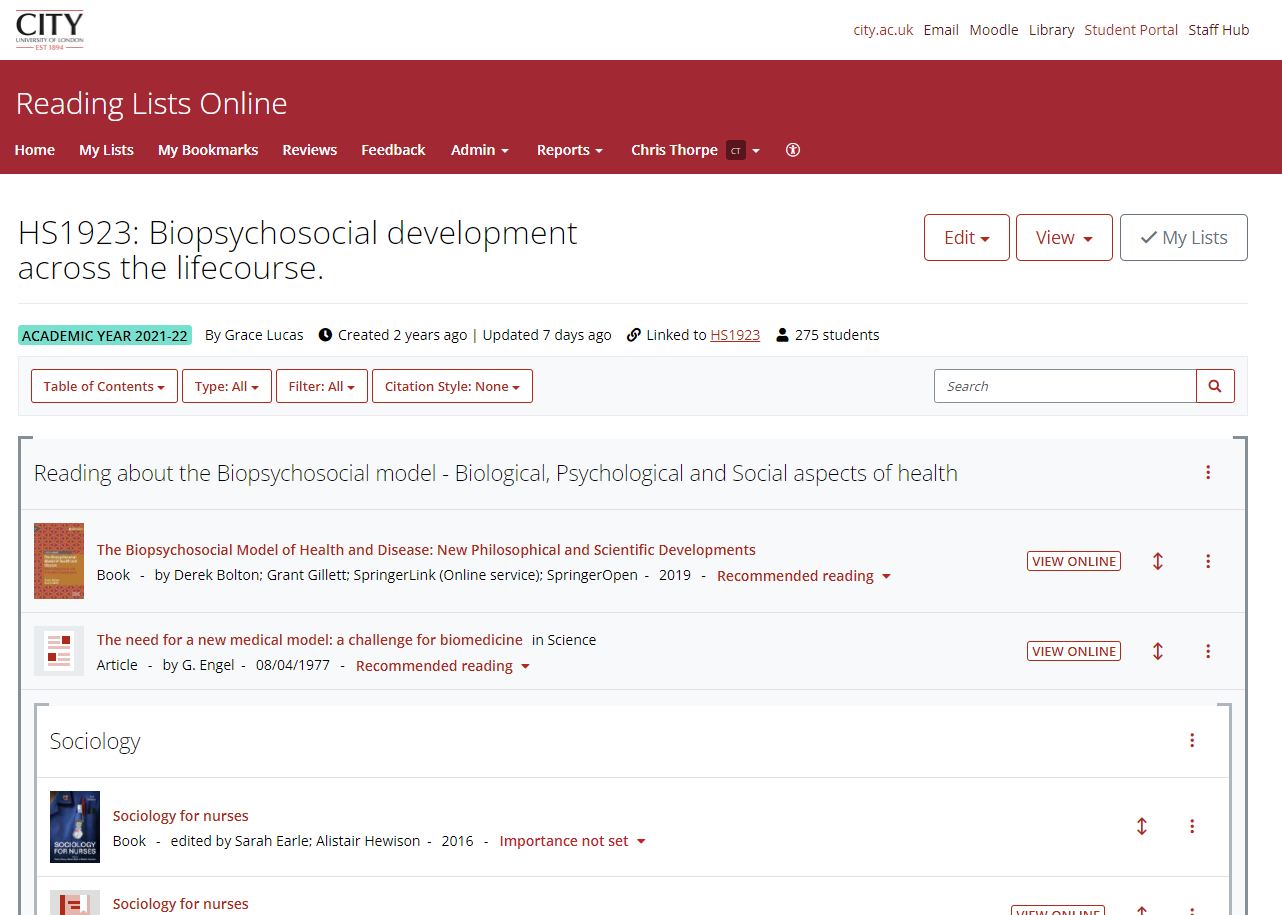 Screenshot of reading lists online.