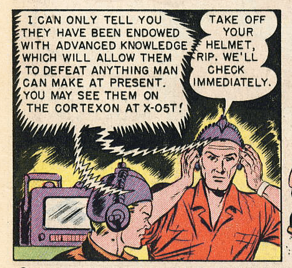 """Panel from """"Traitors to the Earth"""", Captain Science #1, November 150; pencils by Gustav Schrotter, edited by Adolphe Barreaux."""