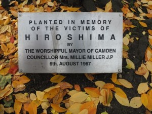 Plaque in Tavistock Square at the foot of a cherry tree planted in 1967 in memory of the victims of the nuclear bombing of Hiroshima.