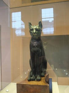 Bronze figure of a seated cat from Saqqara, Egypt Late Period, after 600 BC