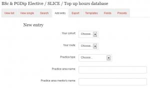 Database form screenshot
