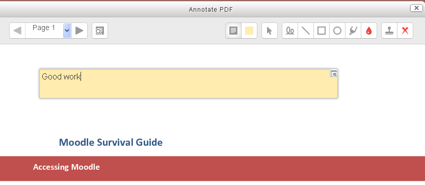 Annotating a PDF assignment in Moodle.