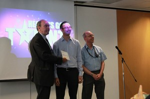 Neil Goldwasser and Peter Bentley receiving the gold award at 'Health Has Got Talent'