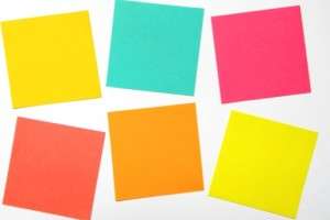 Post It Notes on a white surface