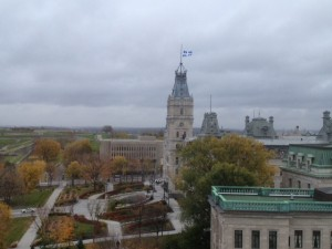 The Quebec Parliament Building; the flag is at half mast after a recent tragedy in Ottawa.