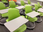 Node chairs laid out in conventional rows