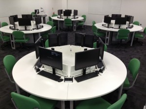 R201 is a computer room round tables, containing pop-up PCs.
