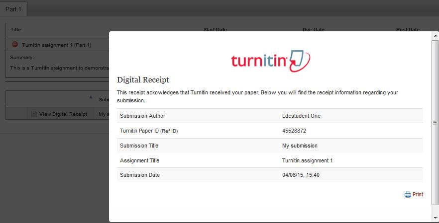 Turnitin digital receipt