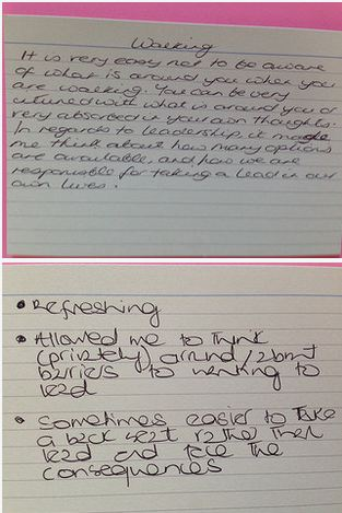 Sample delegate reflections on walking and inclusive leadership