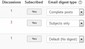 Managing subscriptions via the link to Forums on Module Dashboard