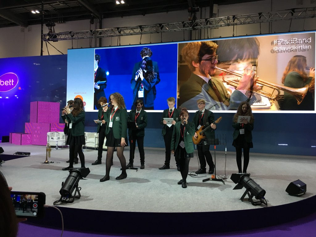 The IPad Band performing live in the Bett Arena