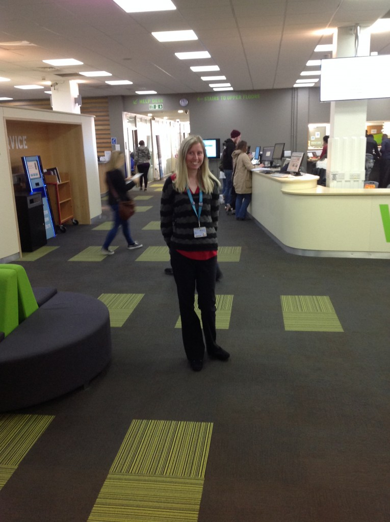#citylis alumna Chloe Menown at Anglia Ruskin University's Library, where whe now works