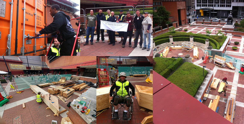 The progress so far...negotiating the bolt, David Normal and his team, a bird's eye view and testing the build for wheelchair access.