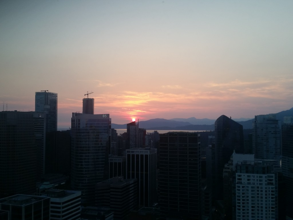 Sunset view from the top of Vancouver's Harbour Centre