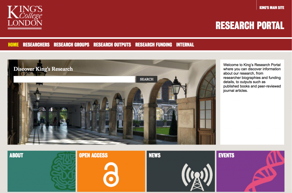 A screen shot of King's Research Portal. It is available at https://kclpure.kcl.ac.uk/portal/