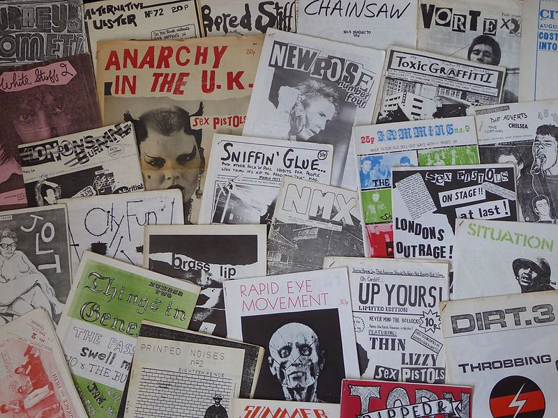 British punk zines from the 1970's. (Source: Wikimedia Commons).