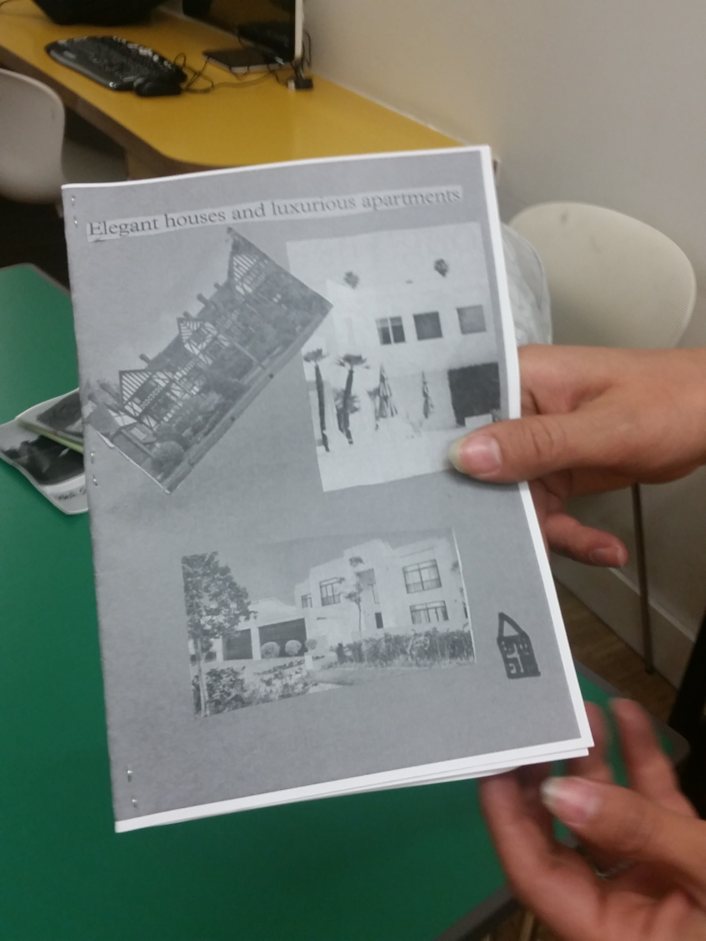"""""""Elegant Homes and Luxurious Apartments"""" - finished fanzine made during the #citylis workshop. Photo by Ernesto Priego"""
