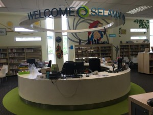 The Library Service Desk at the Nexus International School Library in Malaysia
