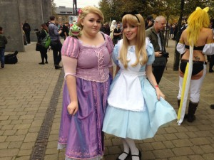 Cosplayers: Lilo Greenan as Disney's Rapunzel (Tangled), and Maisy Parr as Disney's Alice (Alice in Wonderland).