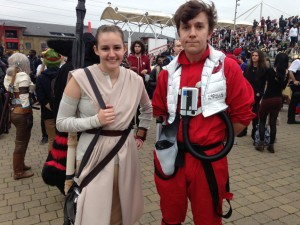 Cosplayers: Drew (left) as Rey, and Tim as Poe, from the Star Wars universe. Drew has been cosplaying since she was 14, and Tim since he was 16.
