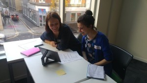 Speech and language therapists Skyping one of the CommuniCATE research participants on the Skype training day