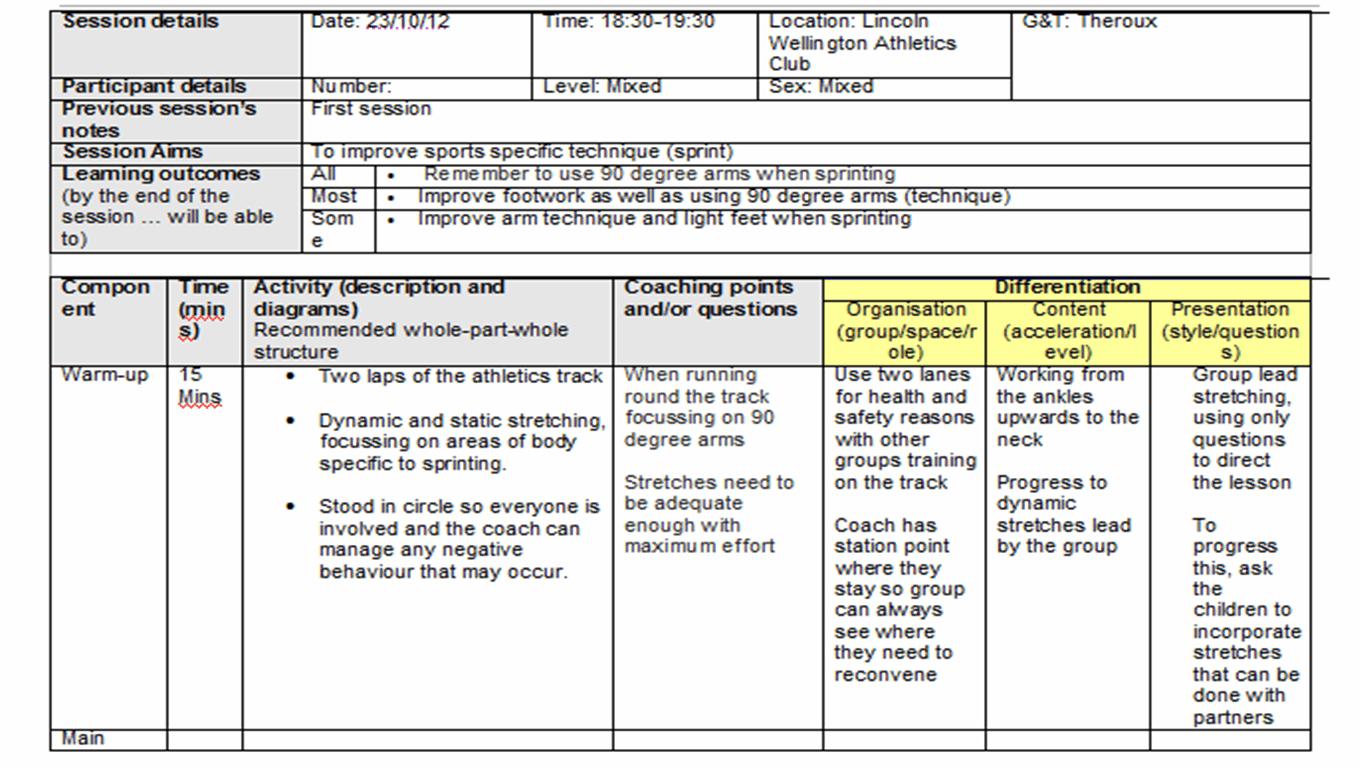 Example Session Plan Erin Brothwell