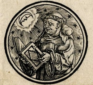 Image: Roundel woodcut illustration of Robert Grosseteste, from a broadside depicting famous astronomers printed in Zurich in the sixteenth century.