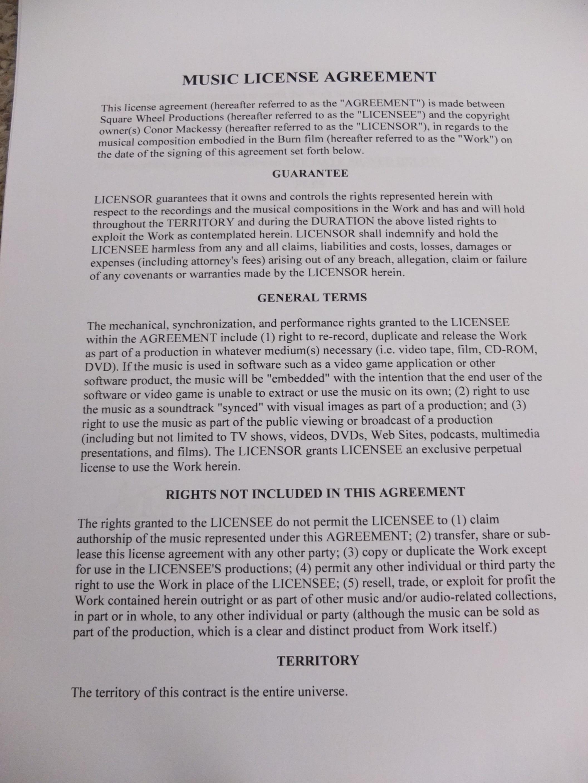 Music Licensing Agreement Burn