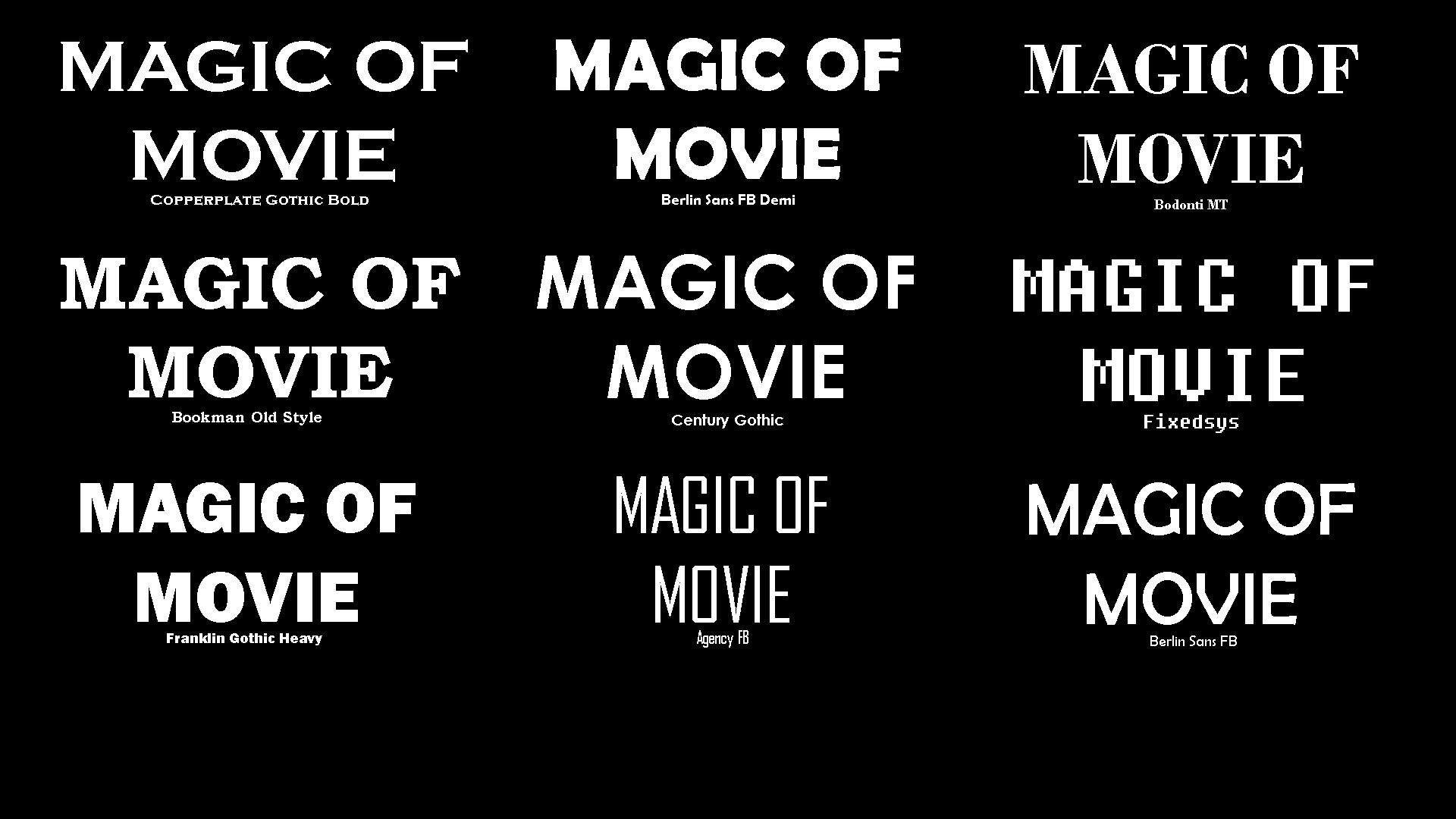 Magic of Movie Font Mood Board | Callum Greenslade's Blog
