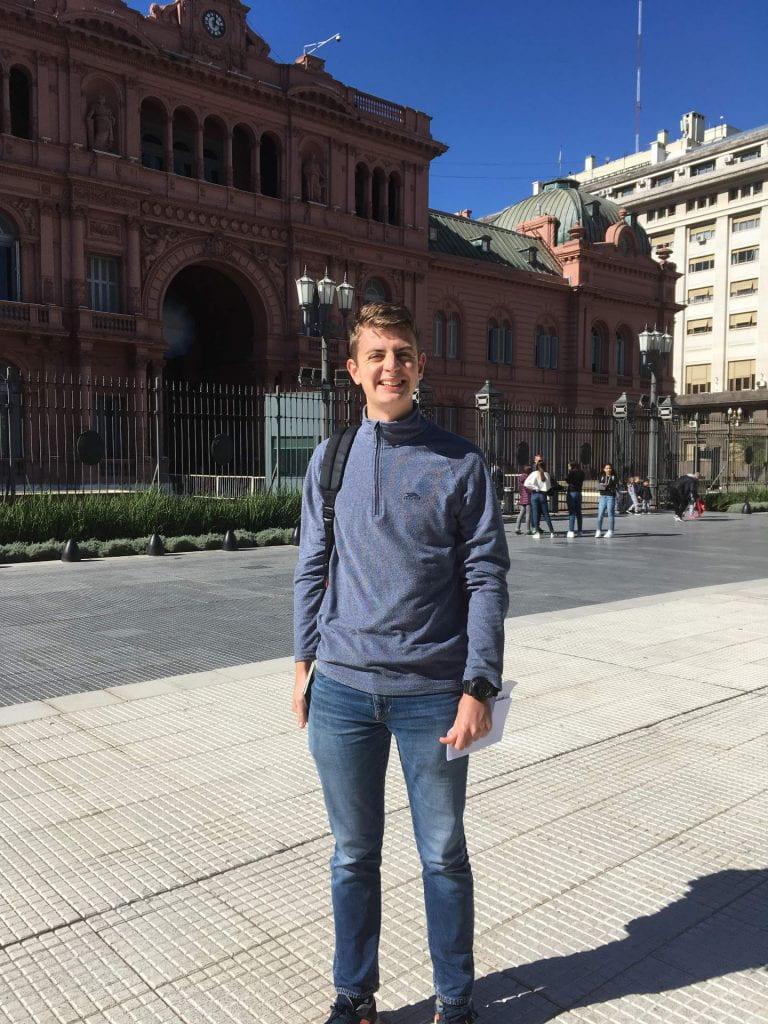Thomas Harper outside the Casa Rosada in Argentina