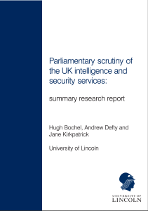 Parliamentary Scrutiny of the Research and Intelligence Services