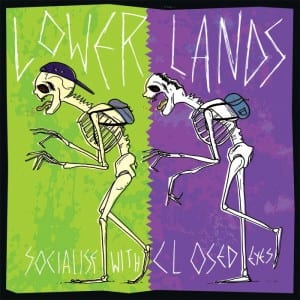 This image shows the cover of Lower lands' single cover. it shows two cartoon skeletons against a purple and green background