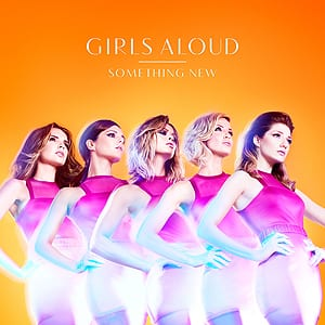 This image shows the five members of Girls Aloud stood in a line, wearing purple dresses and against an orange background.