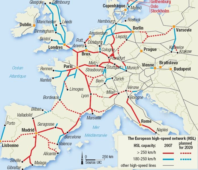 Europe Train Map High Speed Thefreebiedepot