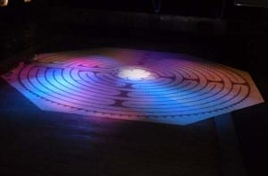 The labyrinth laid out on the floor of the Engine Shed