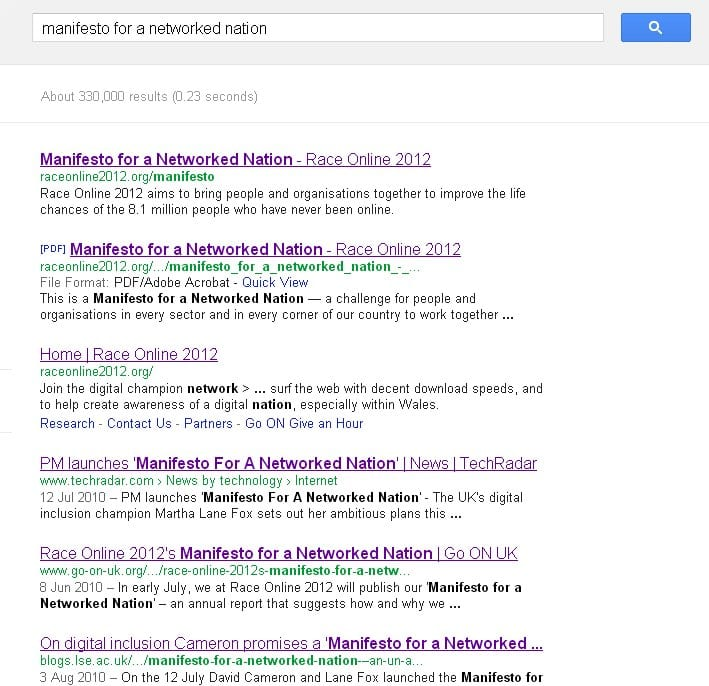 google page showing links to Digital Manifesto
