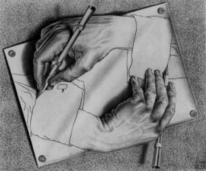 Escher print Drawing Hands