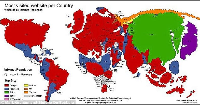 Oxford Internet Institute world map of most used software showing google as the highest choice