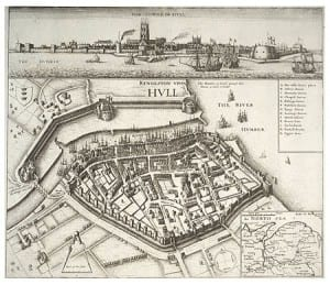 map of Hull c 1640