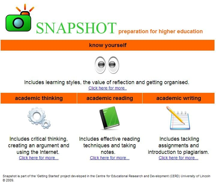 Snapshot (introduction to academic practice) home page
