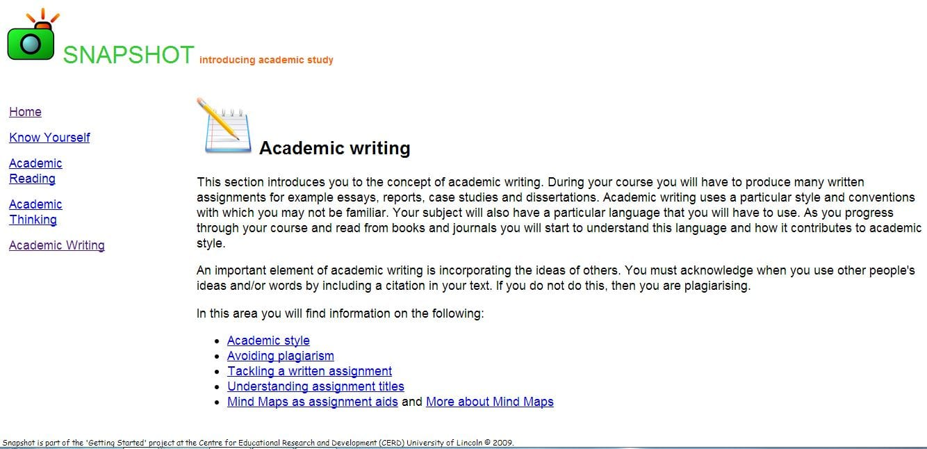 Snapshot page on academic writing