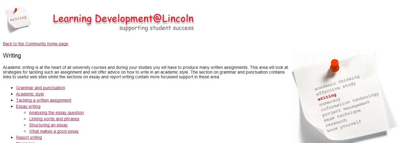 Learning Development at Lincoln Writing Page