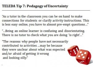 TELEDA TIP 7 be prepared for a pedagogy of uncertainty